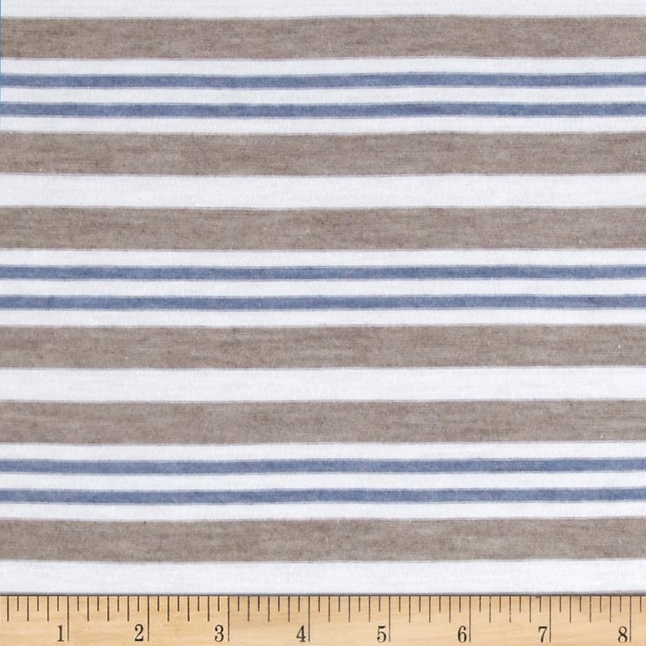 Designer Yarn Dyed Jersey Knit Stripes Taupe/Blue