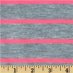 Yarn Dyed Striped Jersey Knit Neon Pink/Grey