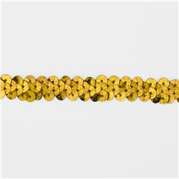 "3/8"" Hologram Stretch Sequin Trim Gold"