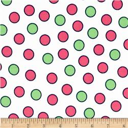 Flannel Medium Dots White/Pink/Green