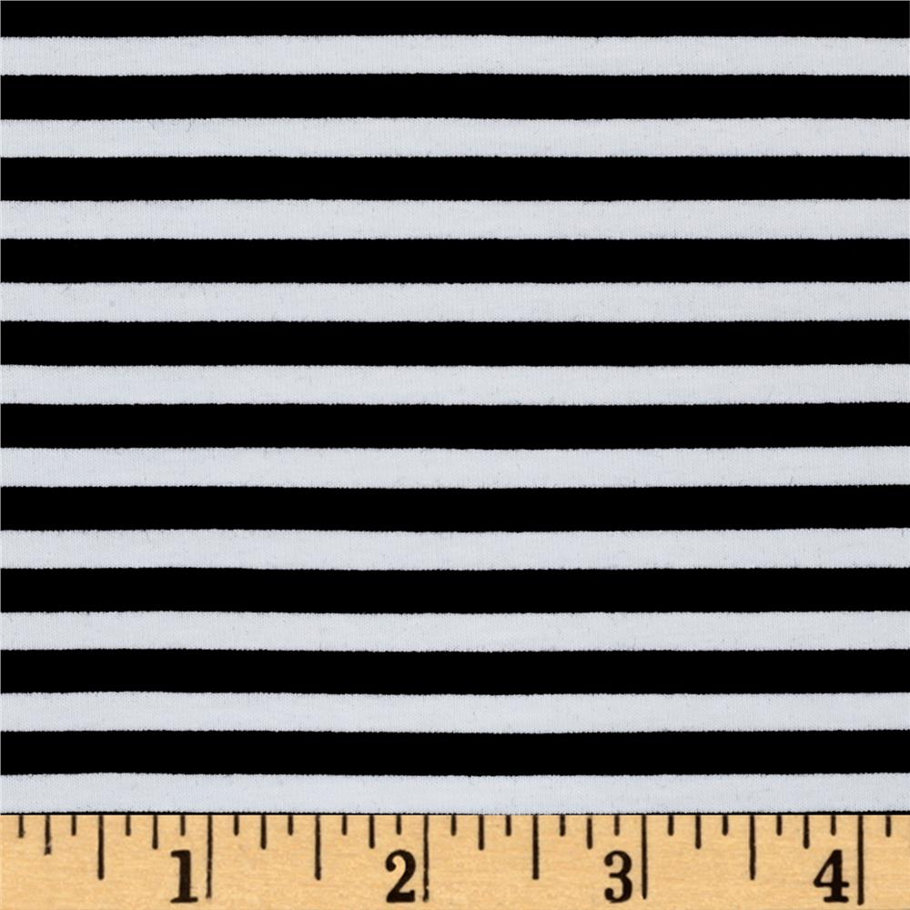 Avalana Jersey Knit Stripe Black/White Fabric