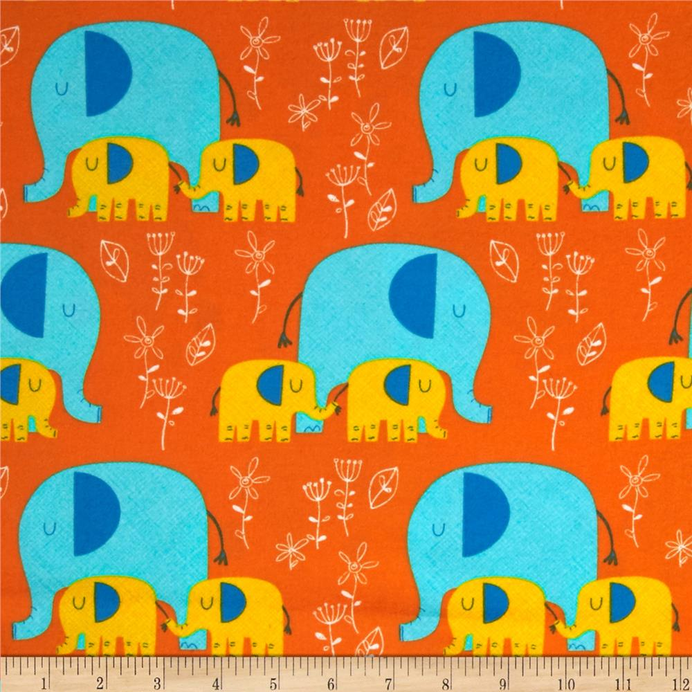 Timeless Treasures Flannel Elephants Orange