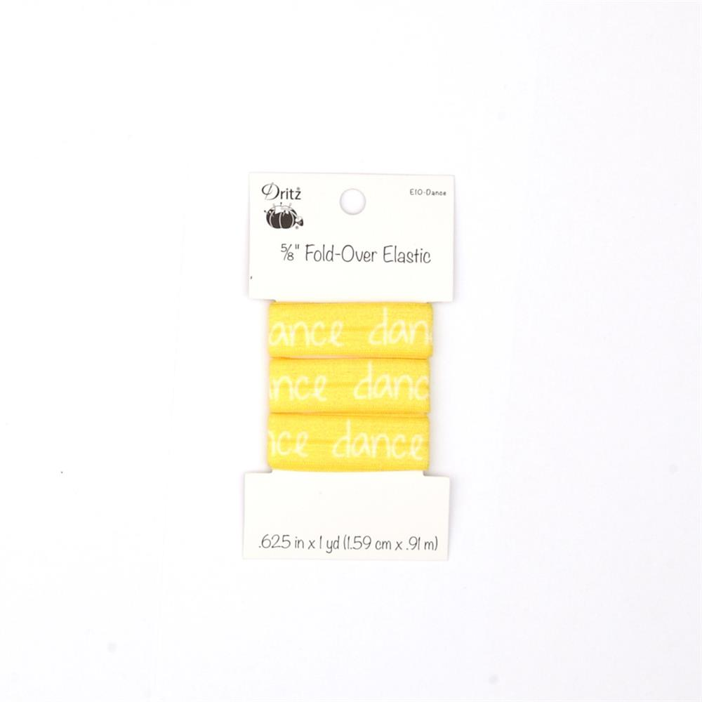 "Inspirational Words Fold Over Elastic 5/8"" X 1 yd Dance Yellow"
