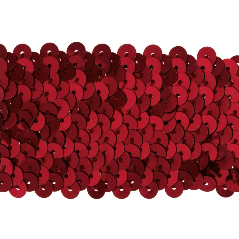 "1 3/4"" Metallic Stretch Sequin Trim Red"