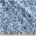 Timeless Treasures Ice Metallic Snowy Trees Blue
