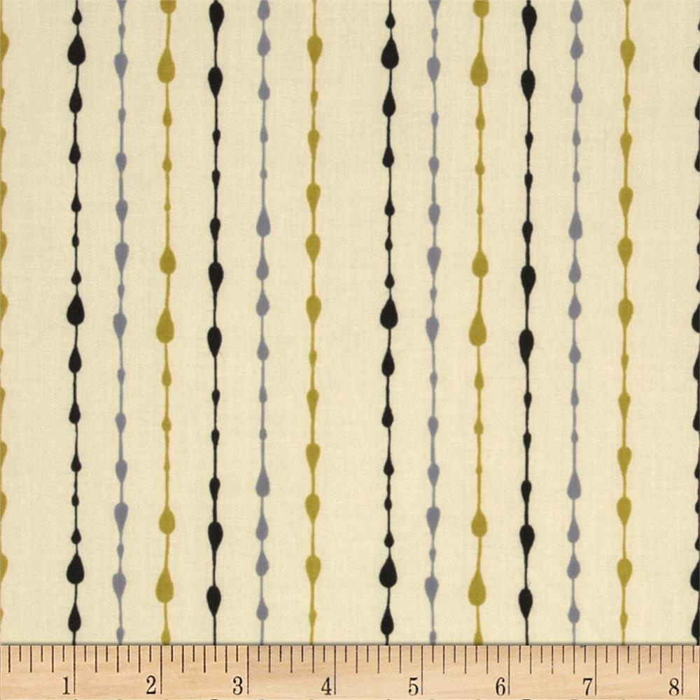 Moda Little Things Organic Raindrop Pin Stripe Cream - Rainy Day Grey