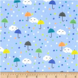 Michael Miller Minky Puddle Play Happy Clouds Periwinkle