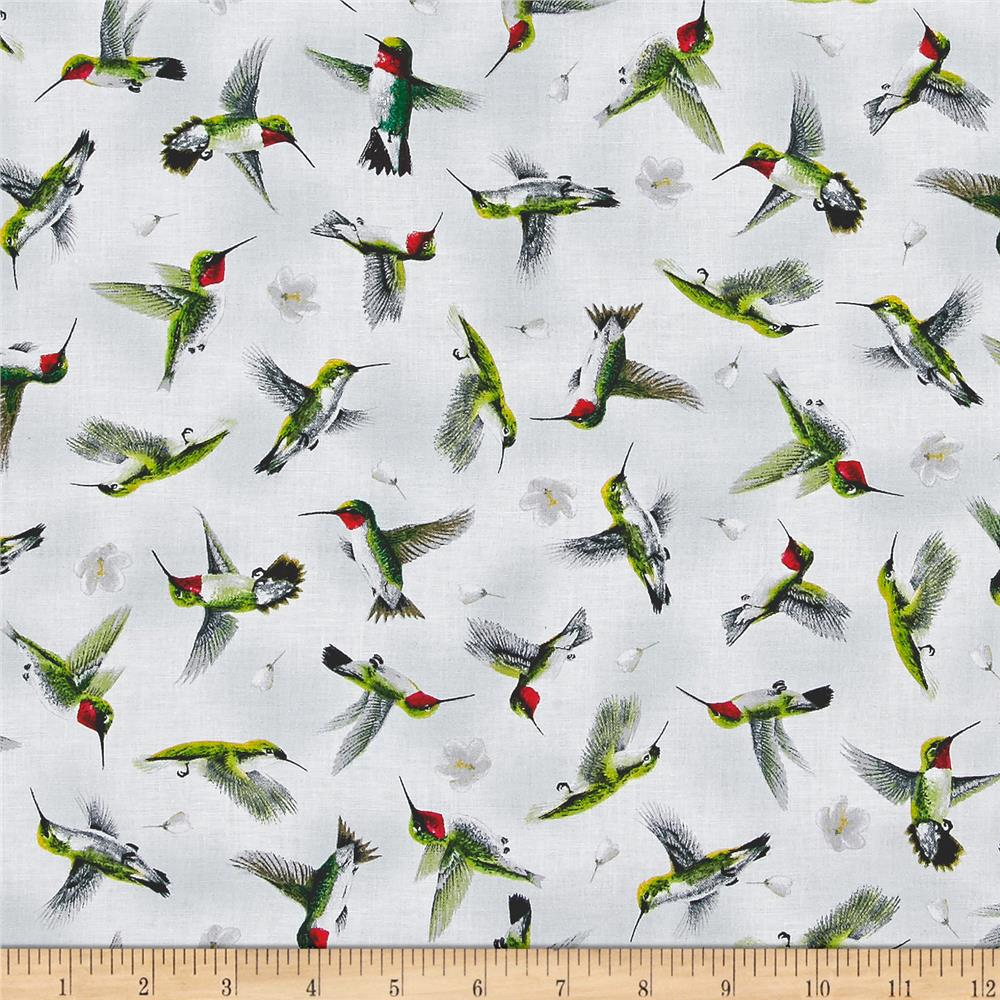Hummingbirds In Flight Lt Gray