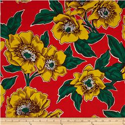 Folklorico Poppies de Potosi Large Flowers Red/Yellow Fabric