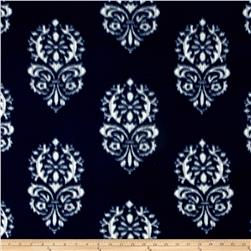 Printed Fleece Damask Navy/White