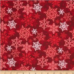 Christmas Flannel Noel Snowflake Red