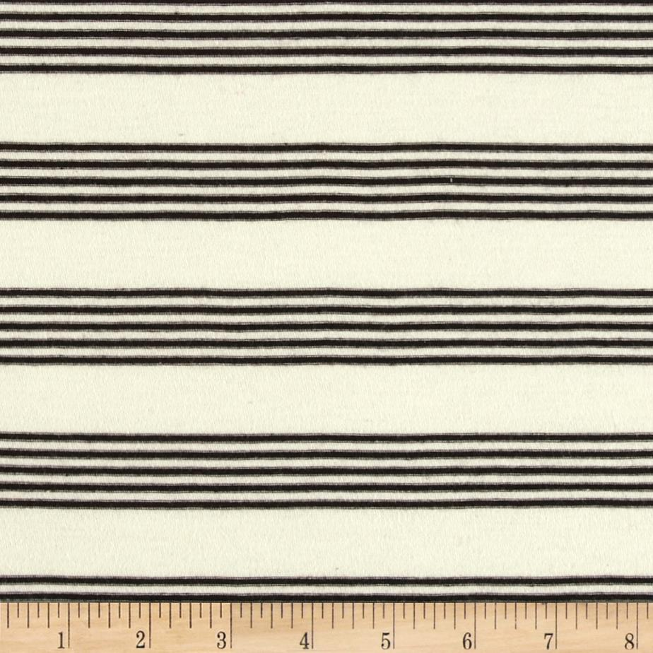 Cotton Poly Yarn Dyed Jersey Knit Stripes Cream/Black