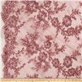 Stretch Floral Embroidered Mesh Lace Mauve