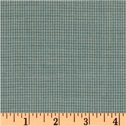 Worsted Wool Small Houndstooth Aqua/Ivory