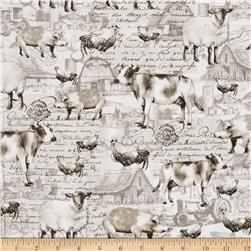 Timeless Treasures Field To Feast Farm Animal Etchings Cream