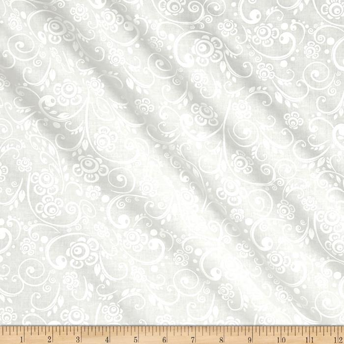 "108"" Contempo Quilt Backing Floral Vine White/White"