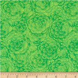 Timeless Treasures Color Crust Packed Floral Green