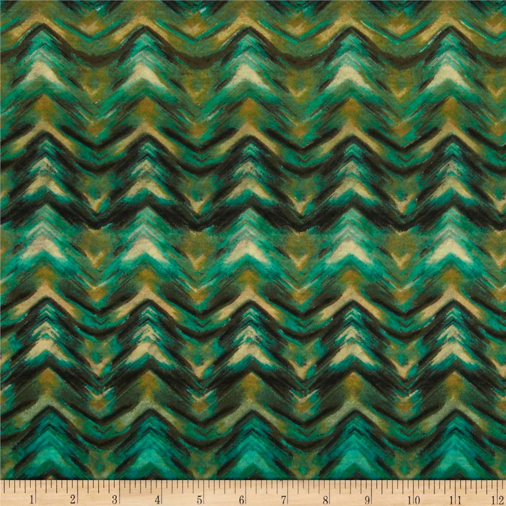 Stretch Jersey Knit Chevron Illusion Brown/Green
