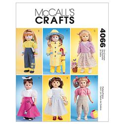 "McCall's 18"" Doll Clothes Pattern M4066 Size OSZ"