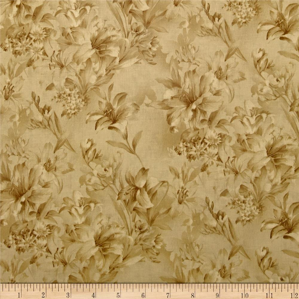 "118"" Wide Day Lily Quilt Backing Floral Tan"