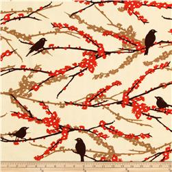 Aviary 2 Sparrows Bark Cream Fabric
