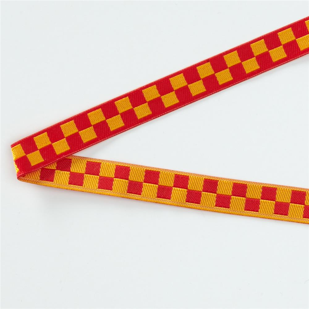 3/8'' Luella Doss Gold & Red Checkerboard Ribbon Fabric By The Yard