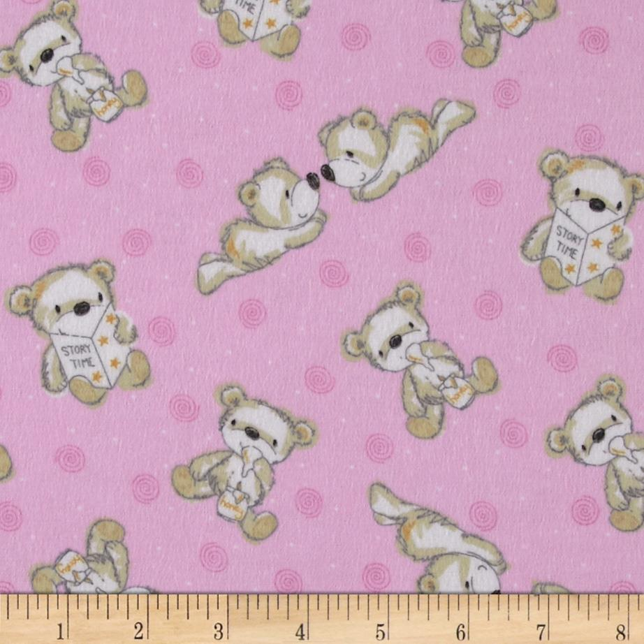 Flannel Tossed Baby Bears Pink