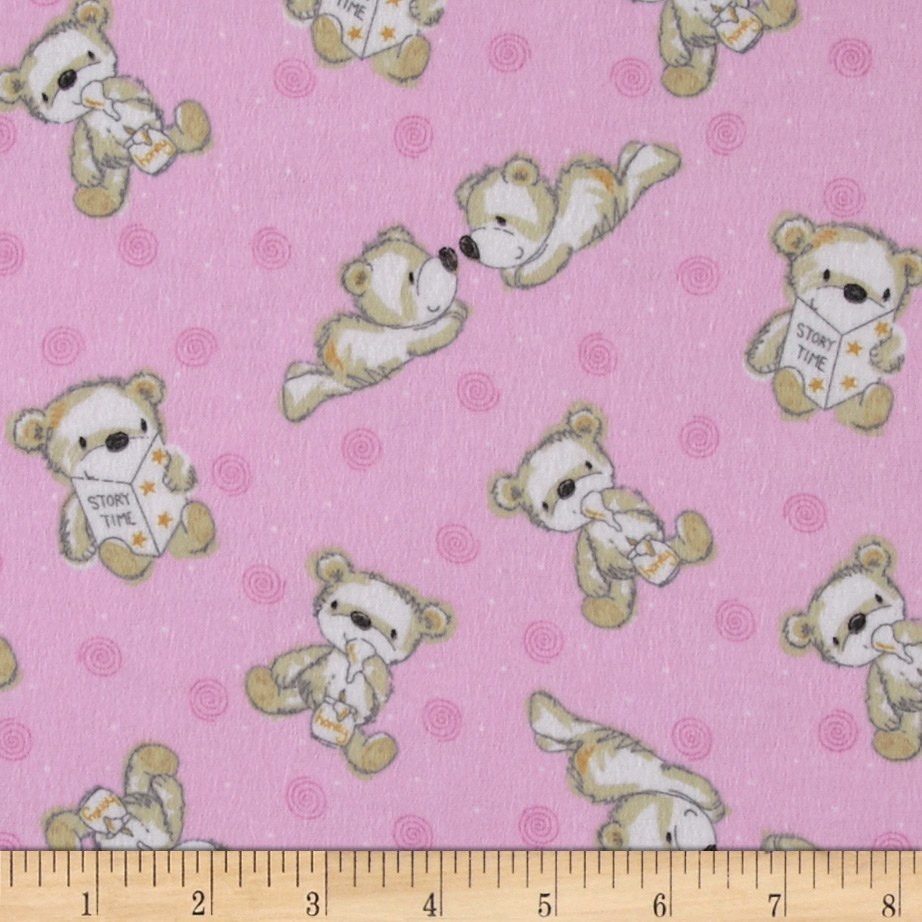 Flannel Tossed Baby Bears Pink Fabric