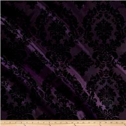 Flocked Damask Taffetta Plum/Black