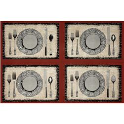 Michael Miller Bon Appetit Place Settings Panel  Flax