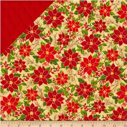 Season's Greetings Double Sided Quilted Poinsettia Cream