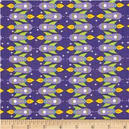 Space Age Rocket Ships Purple Fabric