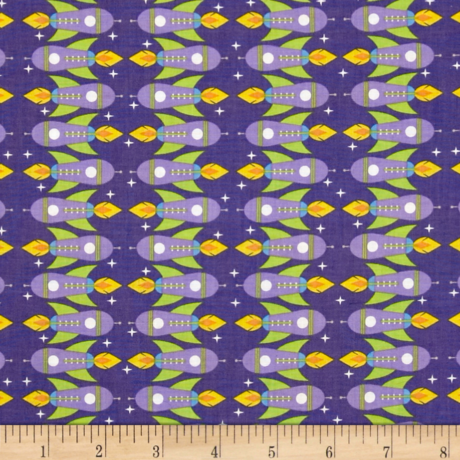Space age rocket ships white discount designer fabric for Spaceman fabric