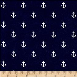 Michael Miller Flannel Sarah Jane Out To Sea Anchors Away Navy
