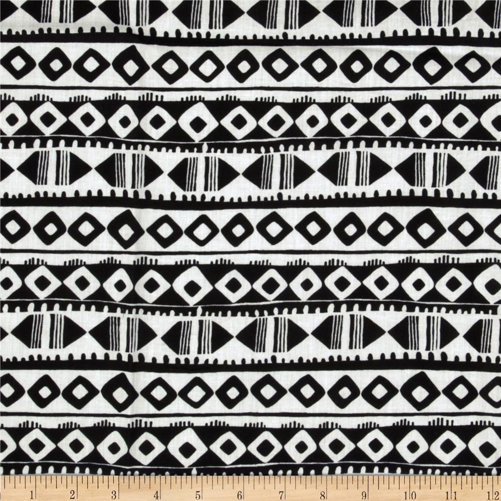 Designer Cotton Shirting Tribal Black/White