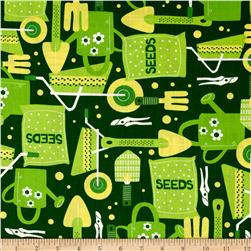 Cultivate and Cook Garden Tools Green Fabric