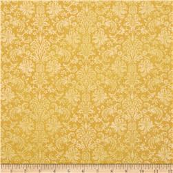 Home For The Holidays Damask Metallic Gold