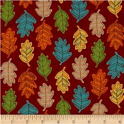 Moda Forest Fancy Falling Leaves Berry Red