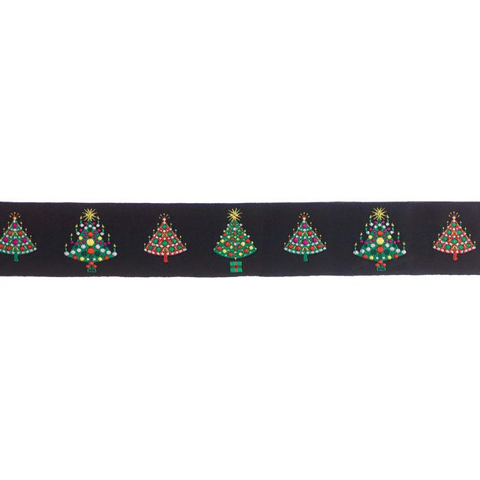 1 1/2'' Ribbon Christmas Trees Black