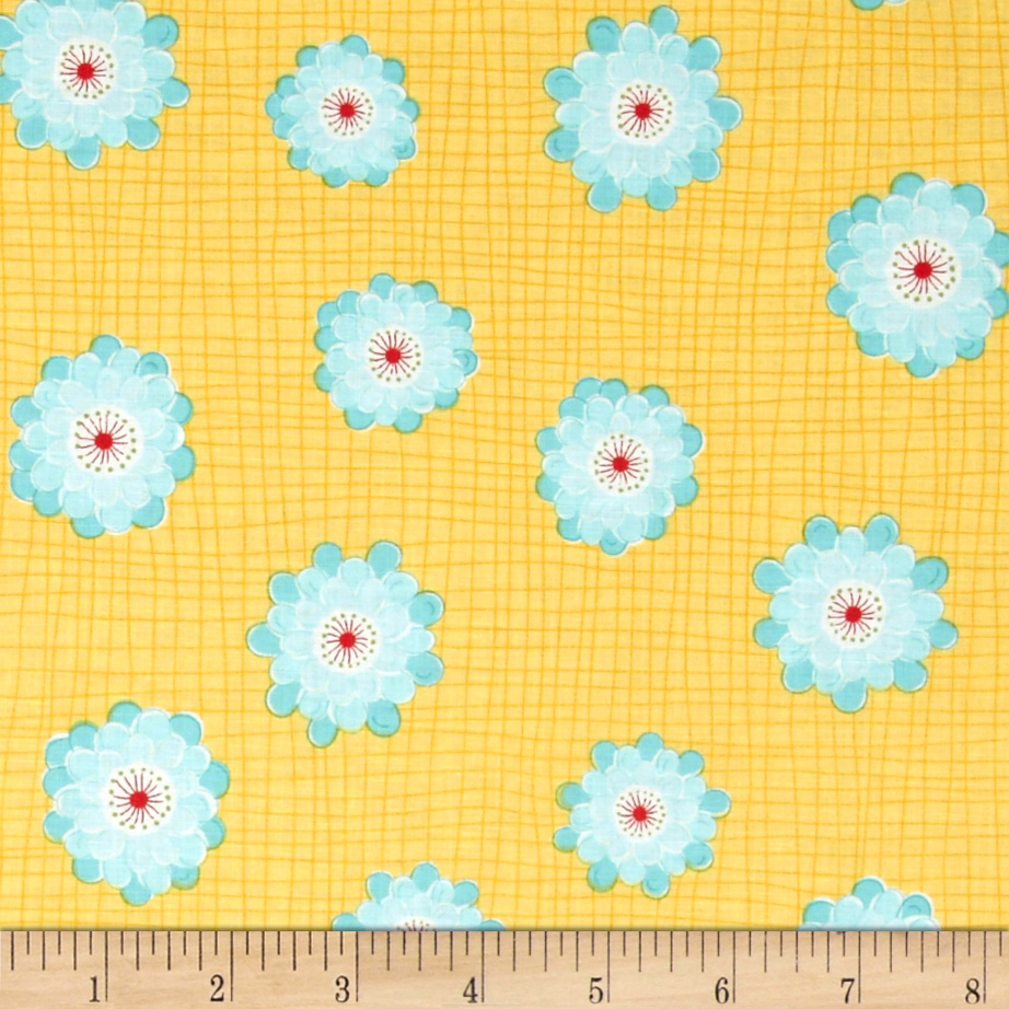 Wallflowers Flower Yellow/Blue Fabric