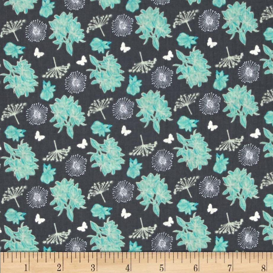Fabric Freedom Springtime Floral Tossed Flowers Gray