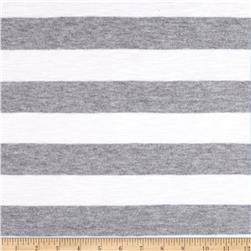 Stretch Rayon Cotton Yarn Dyed Jersey Knit Stripe Grey/Snow