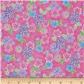 Cotton Candy Flannel Tossed Flowers Pink
