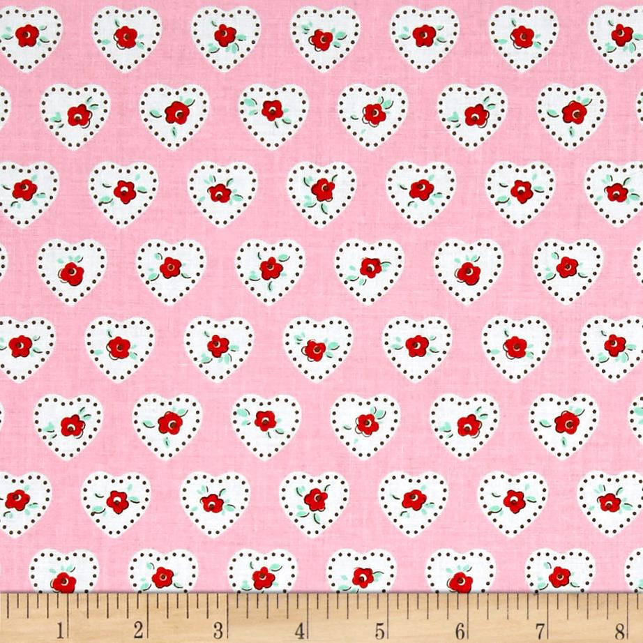 Penny Rose Dolly Hearts Pink Fabric