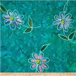 Indian Batik Hand Painted Floral Jade