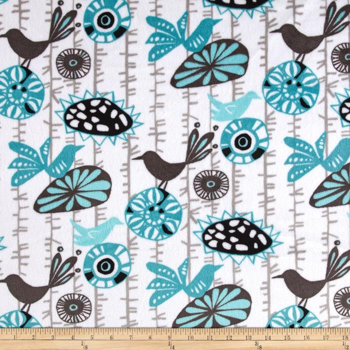 Shannon Premier Prints Mockingbird Minky Cuddle Menagerie Teal