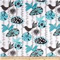Premier Prints Mockingbird Minky Cuddle Menagerie Teal