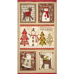 Holiday Stitches Panel Beige
