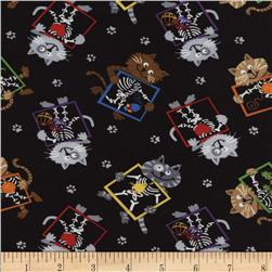 Timeless Treasures X-Ray Cats Black
