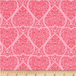 Moda Ever After Heart Damask Passionate Pink